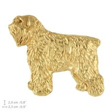 Bouvier des Flanders (body), gold covered pin, high quality Art Dog Usa
