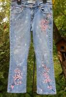 LEVIS 515 Hand Painted Cherry Blossom Distressed Art Blue Jeans Size 10 Short