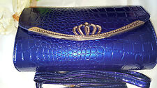 Blue colour Imitation snake skin Leather handbag
