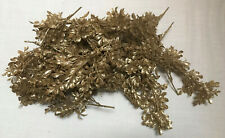 18 GOLD GLITTERED 12 IN ARTIFICIAL FLORAL BOXWOOD LEAVES CHRISTMAS/CRAFTS/DECOR