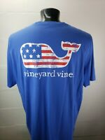 Vineyard Vines S/S Pocket T-shirt Mens 2XL USA Flag Whale Distressed Logo MINT!