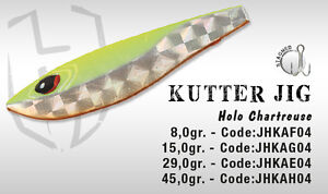 ARTIFICIALE KUTTER JIG 29 GR HOLO CHARTREUSE HERAKLES COLMIC LURE METAL SPINNING