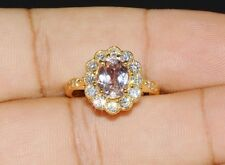 Certified Natural 2.8cts VS F Diamond Morganite 18K Solid Gold Engagement Ring