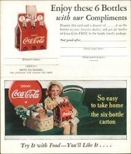 Vintage Coca Cola Adv Little Girl w/ Six Pack Carton Fold-Open Postcard