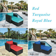 Patio Wicker Rattan Sofa Ottoman Lounge Sectional Couch Set Outdoor Furniture