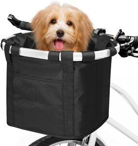 Folding Bicycle Basket Small Pet Dog Carrier Front Bike Handlebar Basket Bag CA