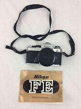 Nikon FE 35mm SLR Film Camera Silver Body w/50mm f1.4 From Japan s/n 3406820