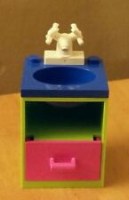 LEGO Custom Furniture Belville BATHROOM SINK Lime / Blue/ Dk Pink / WHITE Faucet
