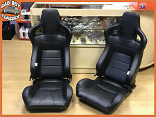 Pair BB6 Reclining Tilting Bucket Sports Seats Black Universal Design BMW E36