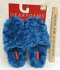 Dearfoams Slippers Lapis Blue Plush Closed Toe Sure Grip Soles Size 6 New