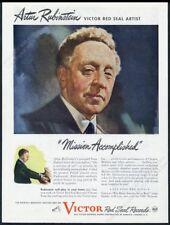 1944 Artur Rubinstein portrait Victor Red Seal Records vintage print ad