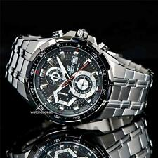 CASIO EDIFICE, EFR539D-1A EFR-539D-1AV, CHRONO, SILVER TONE, BLACK FACE, STEEL