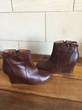 Bottes Boots Bottines Compensées Lanvin Cuir Marron Taille 40