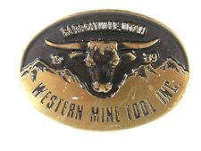 Western Mine Tool Carbonsville Utah Brass Belt Buckle By Dyna Buckle 4116