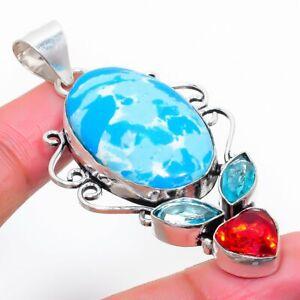"Larimar, Garnet Gemstone Handmade 925 Sterling Silver Jewelry Pendant 2.36"""