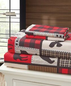Lodge Life Red 4 pc Queen Sheets and Pillow Cases Set Bear Country Microfiber