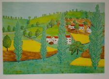 Maurice LOIRAND- Lithographie originale signée-Maisons sur la colline