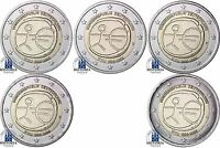 Deutschland 5 x 2 Euro 2009 WWU 10 Jahre Bargeld bankfrisch Münzzeichen A bis J