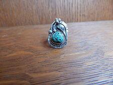 Vintage Navajo Sterling Silver Stamped Turquoise Leaf Aplique Ring Size 4