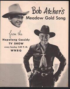Bob Atcher's Meadow Gold Butter Song Hopalong Cassidy TV Show Sheet Music