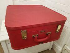 Vintage 1950s Airport Fibreglass Quality Suitcase Red Vinyl Brass Locks Retro...