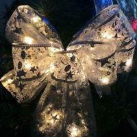 Christmas LED Tree Topper Ribbon Bow Light Up Xmas Ornament Hanging Decor C3L6