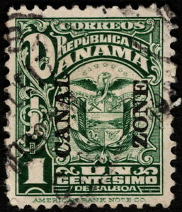 Canal Zone - 1924 - 1 Cent Green w Canal Zone Overprint # 68  Fine - VF + Nice