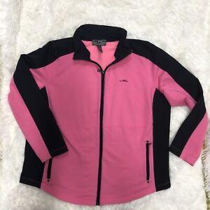 LRL Ralph Lauren Active Full Zip Sports Jacket Womens Sz 2X Pink and Black C2