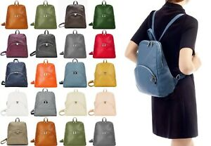 Handbag Bliss Italian Leather Soft Grained Backpack Rucksack With Outer Pockets