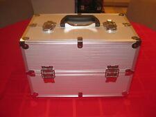 Professional Beauty Makeup Artist Case silver Aluminum Handle Strap Carry