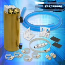 Universal Breather Reservoir Tank 350ML Gold Aluminum Cylinder Oil Catch Can Kit(Fits: More than one vehicle)