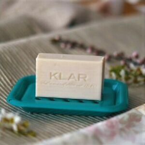 Klar Seifenschale Email,Emaille,türkis,Ablage für Seife,Soap Dish,2-teilig