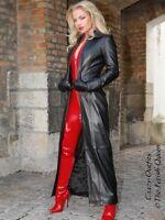 Ledermantel Leder Mantel Schwarz Bodenlang Figurbetont Maßanfertigung