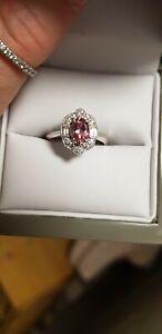 Pink Tourmaline and Diamond 9ct White Gold Ring Size K