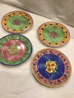 4 PC SANGO WATERCOLOR Salad PLATES APRICOT Strawberry(2) Blueberry