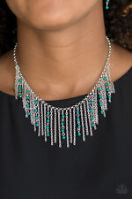 Paparazzi jewelry green beaded tassels,silver chains Necklace w/earrings