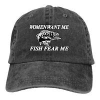 WOMEN LOVE ME FISH FEAR ME FISHING SPORT BASEBALL STYLE CAP HAT