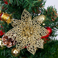 10PCS Christmas 7-13CM Poinsettia Glitter Flower Xmas Tree Hanging Ornament