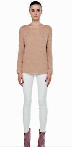 Vince Women's Size Xs Open Knit Eyelash Sweater Pullover Blush Cotton Blend