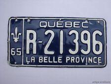 1965 QUEBEC Vintage License Plate TRAILER # R-21396