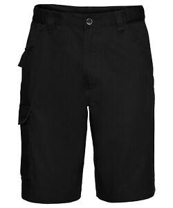 "Russell Polycotton twill workwear shorts J002M Black 36"""