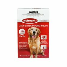 Nuheart 6 x monthly Heartworm soluble tabs for large dogs 23-45kg Red Exp:04/21