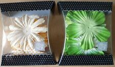 Prima Marketing Flowers x 2 Packs, Mulberry Paper, Green, White, Orange, Peach