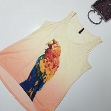 CROSSROADS sz L Womans Yellow Peach Ombre Fade Parrot Singlet Top Diamante Macaw