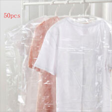 50/100pc Plastic Clear Polythene Garment Cover Dry Cleaner Dress Clothes Bag