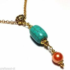 Turquoise Glass Round Costume Necklaces & Pendants