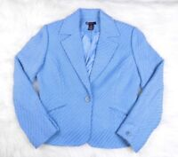 G Signature Women Wool Blazer Jacket Blue Lined Office Career Size 10