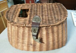 Vintage Wicker Fishing Creel With Leather and Metal Fish Closure