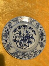 New listing 17th Century Kangxi Chinese Blue & White Porcelain Plate with Rodents On Bamboo