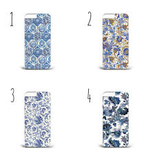 Blue Pattern Flowers Ornament hard phone Case Cover iPhone Samsung